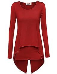DJT Tee-Shirt Uni Manches longues Tops T-shirt Layered pour Femme