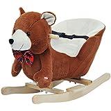 Homcom - Cavallo a Dondolo in Legno Orso per i Bambini 60 x 26 x 45cm Marrone