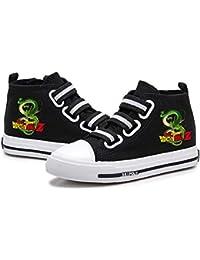 Nqdkfjeffr Dragon Ball Zapatos de Peso Ligero Zapatos Planos de los Zapatos for niños Alto-Top de los Zapatos de Suela de Goma Zapatos de la Zapatilla niños y niñas