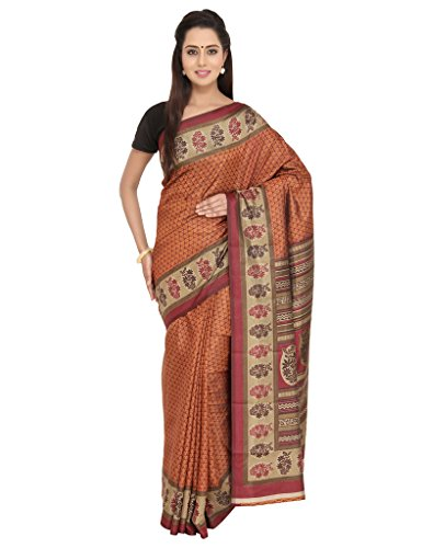 The Chennai Silks - Floral Design Khadi Silk Saree-Pink & Fawn-(CCSW-SY-95)  available at amazon for Rs.400