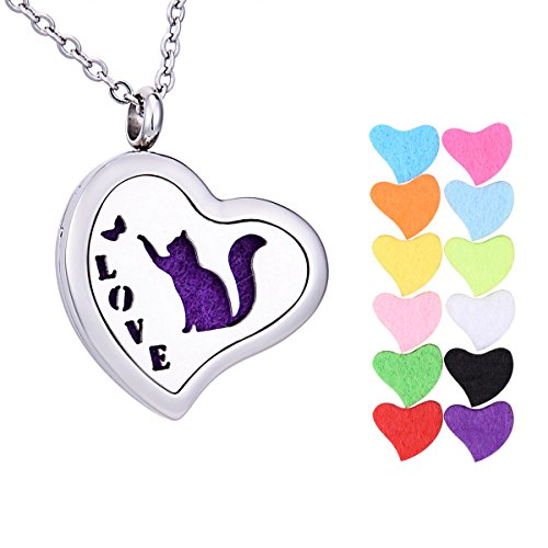 Tornado Love Aromatherapie ätherisches Öl Diffusor Halskette Schmetterling Katze Muster Herz Medaillon Anhänger 61cm Kette, 12Refill Pads -