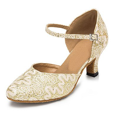 Silence @ Chaussures de danse pour femme en dentelle/paillettes scintillantes latine/Jazz/moderne/Chaussures de swing/Salsa Sandales blanc