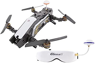 XciteRC 15003870 Racing Furious 320 °F3 RTF Drone Quadcopter with HD Camera FPV Video Goggles V2, OSD, Battery, Charger and Devo 10 Transmitter - Black