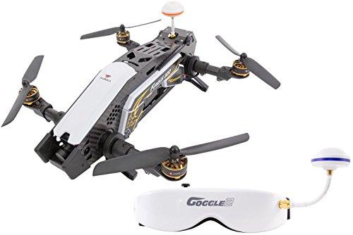 XciteRC Furious 320 F3 FPV Race Copter RTF Drohne mit HD Kamera, Videobrille Goggle V2, OSD, Akku, Ladegerät und Devo 10 Fernsteuerung, schwarz