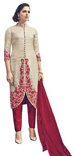 Heart & Soul Designer Wedding & Party Wear Fully Stitched Embroidery Designer Salwar Suits Dupatta XL size for Women (Beige)