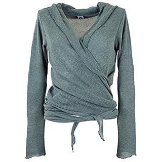 Guru-Shop Wickelshirt, Baumwollstrick Pullover, Damen, Taubenblau, Viskose, Size:38, Pullover, Longsleeves & Sweatshirts Alternative Bekleidung