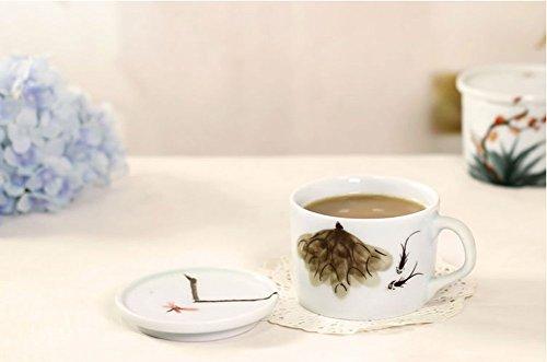 ZHGI Creative con ceramiche dipinte a mano tazza da caffè con coperchio, rosso tazza singole (Pesce Tumbler)