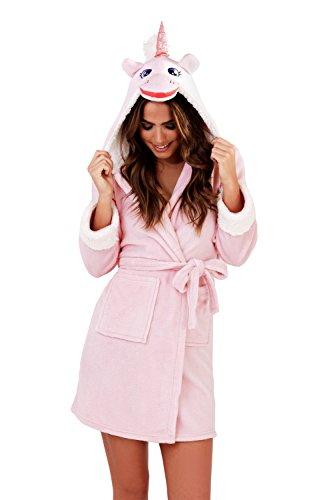 Lora Dora Damen Kurzer Luxus Fleece Bademantel + Gürtel Bademantel Hausmantel Damen Größe UK 8-18 Rose