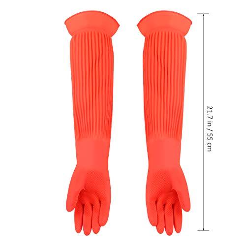 guanti lunghi lattice POPETPOP Guanti Lunghi in Lattice Acquario Serbatoio per Pesci Industriale Spesso Guanti protettivi Resistenti all Usura Guanti per la casa Vestiti per stoviglie Lavare (Formato Libero)