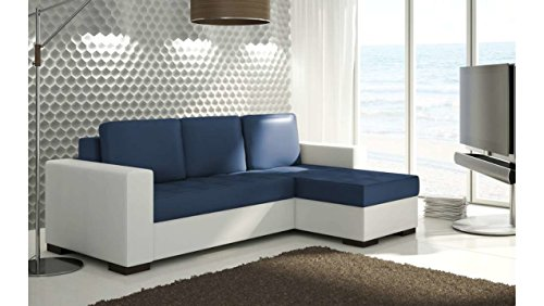 JUSTyou Newark Canapé d'angle Sofa canapé lit Cuir écologique (HxLxl): 90x237x150 cm Bleu Blanc Angle droit
