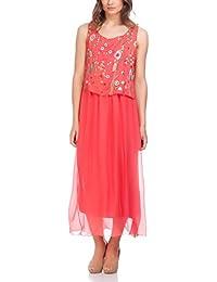 Laura Moretti - Vestido largo de seda con top bordado y falda plisada