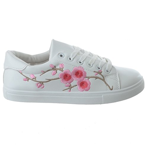 Miss Image Uk Femme Floral Brodé Bas Bas Avec Lacets Sport Chaussures Femme Décolleté Sport Chaussures Taille Blanc / Rose