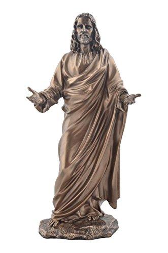 Jesus als Prediger Bronzierte Figur Christentum Kreuz Gott Glaube