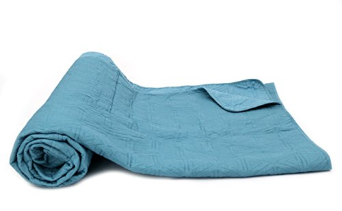1001 Wohntraum 17JN28 Quilt Anne Karo grau - blau, Plaid Tagesdecke, Muster Decke (240 x 2