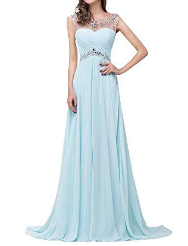 Chiffon Partykleid A-Linie Perlen Ballkleider Einfache Scoop Neck Abendkleider