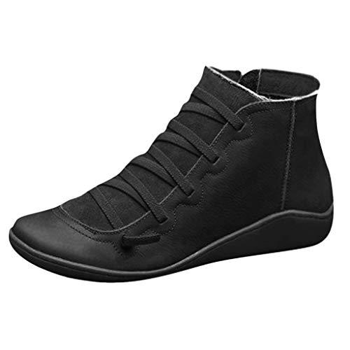 Frauen Booties Beiläufige Warme Plus Samt Dicke Runde Kappe Lace Up wasserdichte Seitenreißverschluss Stiefel Kurze Schuhe Stiefeletten(35 EU,Schwarz)