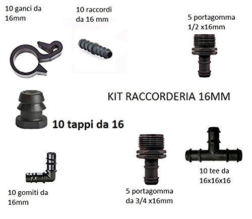 Kit raccords raccorderia mixte de 16 mm avec tee coudes derivazioni autotaraudeuses bouchons fin ligne adaptés pour tuyaux gocciolenti PN4 et PN6
