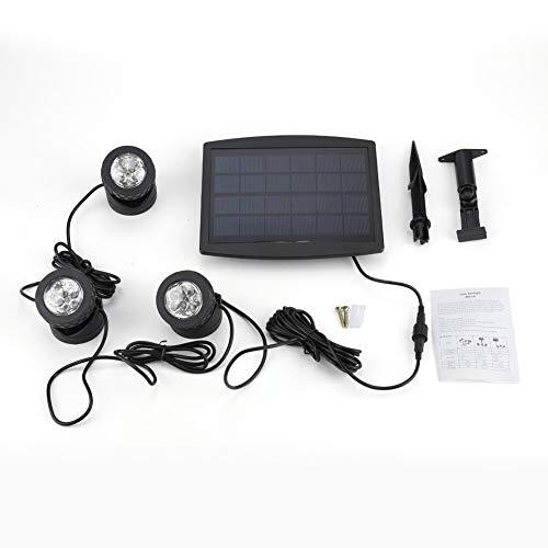 Cocoarm LED Teichbeleuchtung Solarbetriebene Teichlichter Unterwasserstrahler Wasserdicht Solar Solarspots mit 3 Lampenfassungen für Garten Brunnen Terrasse Liegewiese (Weiß)