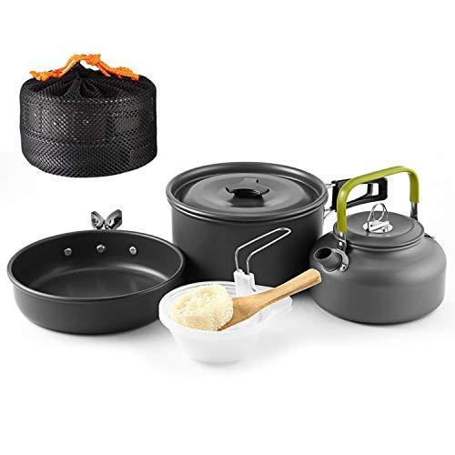 OUTAD Portatile Kit da Cucina Campeggio Trekking Escursione Picnic (9 pezzi necessari per Cucinare all'aperto)