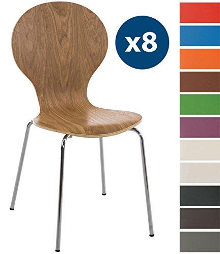 Clp set 8 sedie impilabili diego con seduta in legno robusto   sedia attesa con telaio in metallo   sedia ergonomica e facile da pulire   sedia conferenza quercia