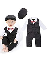 Wide.ling Infant Toddler Baby Tuxedos Clothes Gentleman Romper Jumpsuits Kids Boys Formal Suits Bodysuits