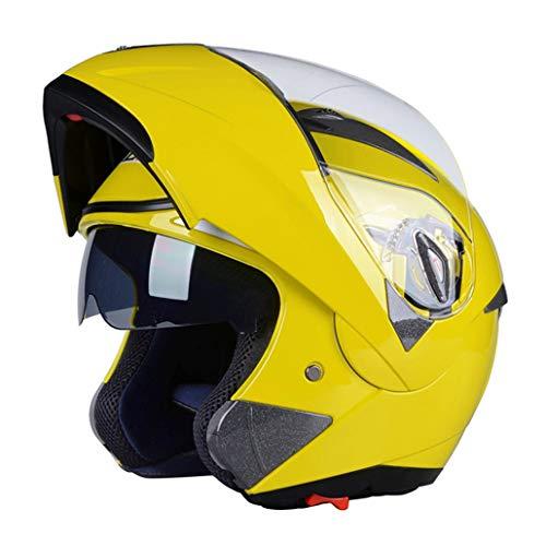 OLEEKA Casco moto Flip Up con visiera parasole interna Everybody Cheap Double Lens Motorbike Helmet