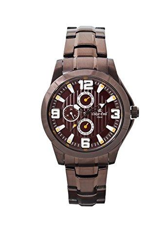 Oskar Emil, klassische Uhren, Classic men'Oskar Emil Damenuhr Wellington Brown men's Armbanduhr Analog Quarz Edelstahl Armband Braun-Gummistiefel, braun