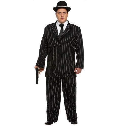 Erwachsene Herren 1920s Jahre Gangster Bugsy Malone Great Gatsby Nadelstreifen Anzug Verkleidung Kleid Kostüm Outfit Std & XL (XL)