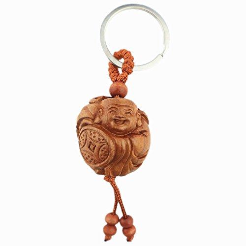 olz Happy Lachender Buddha Statue Schlüsselanhänger für Glück und Schutz + Gratis Handmade Luck rot String Armband (Buddha-schlüsselanhänger)