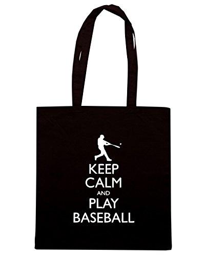 T-Shirtshock - Borsa Shopping SP0093 Keep Calm and Play Baseball Maglietta Nero