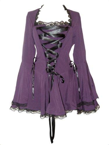 Farbband, Schwarz Tutu (Schwarz (Blk Twilight Blouse) Gothic-Vampir Korsett Bluse mit Glockenärmeln, Schwarz, 52-54/UK18)