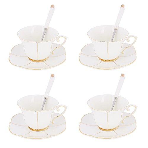 Artvigor, Porzellan Kaffeeservice Set für 4 Personen, 12 TLG. Set Kaffeetassen, 200 ml Mokkatassen mit Löffel und Untertassen