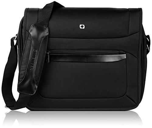"""Wenger Premium 16"""" Messenger-Bag für Damen und Herren   Businesstasche mit gepolstertem Laptopfach   Schultertasche Schwarz mit Grauem Innenfutter"""