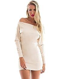 Lookbook Store® Damen Beige/Graues Langärmliges Körperbetontes Kleid mit Drapierter Schulter Zwei Farben
