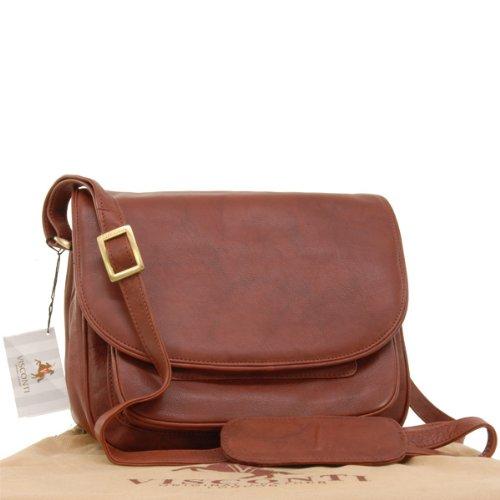 """Visconti Satteltasche/Handtasche """"Atlantic"""" - mit Überschlag - Leder - (2195) Größe: B: B: 28 cm, H: 22 cm, T: 14,5 cm Braun"""