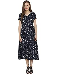 My Swag Women's Floral Printed Short Sleeve V Neck Maxi Dress
