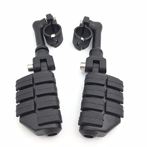 HTT schwarz Motorrad lang abgewinkelt für Yamaha V Verstellbarer p-clamps Große FOOTPEG Fußstütze Star Roadstar Suzuki Boulevard ausgestattet mit 2,5cm (2,5cm) 25mm Front Motor Guard Rahmen Tube