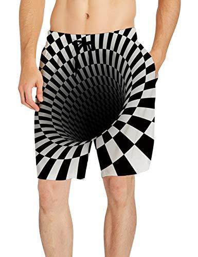 AIDEAONE Herren Badehose Schwarz und Weiß Schnelltrocknend Badeshorts Gitter Grafik Strand Surf Shorts XL