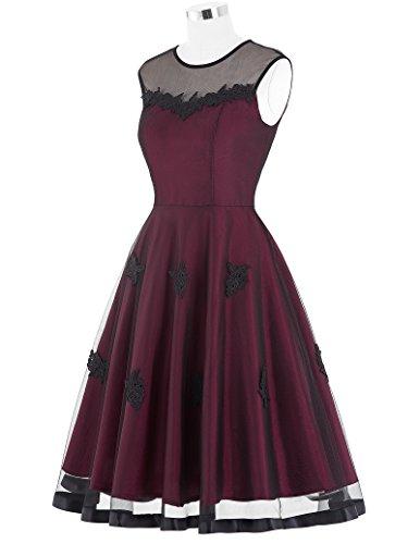 50s Knielang Rundausschnitt Sommerkleid petticoat Kleid Ohne Arm M BP112-1 -