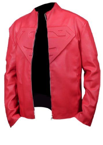 Leatherly Giacca Uomo Smallville Superman Red Sintetico Pelle Giacca- 5XL