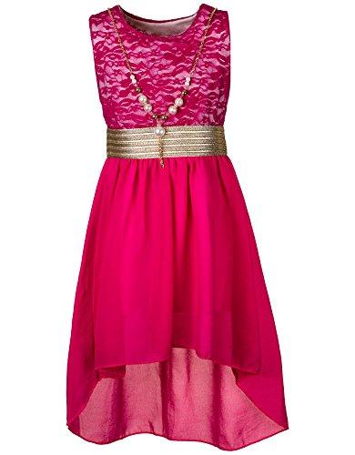 Kinder Sommer Fest Kleid für Mädchen Sommerkleid Festkleid mit Kette in vielen Farben M288pi Pink...