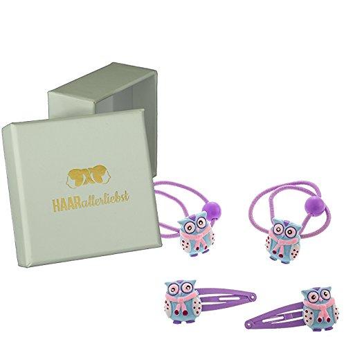 HAARallerliebst 4 Teiliges Haarspangen Haarclips und Haargummi Set mit handbemalten Winter Eulen für Kinder Mädchen in Weisser Box
