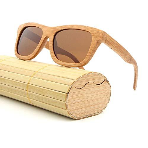 AZB Herren und Damen Sonnenbrille aus Bambus mit mattschwarzer Front und polarisierenden Gläsern Holzrahmen mit Originalverpackung,Darkbrown