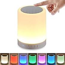 HF morning Lámpara LED de Mesa,lamparas mesilla con altavoz Bluetooth Inalámbrico,luz nocturna niños de color regulable, Luz de Noche con control táctil ,Llamada de Manos Libres Bluetooth para Habitaciones de Niños y Dormitorio