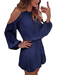 3bc504b40445 Sommerkleider Damen Kurz Elegant Chiffon Kleider Langarm Rundhals Festlich  Cocktailkleid Party Schulterfrei Cut Out Minikleid A-Linie…