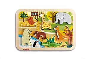 Janod - Chunky Puzzle de madera, Zoo (J07022)