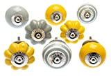 knoa Pale Grey and Mustard Yellow Door Knobs for Cupboards, Wardrobes and Drawers - 8 Pack