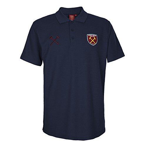 West Ham United FC Polo Oficial Para Hombre - con el Escudo del Club - Azul Marino - M