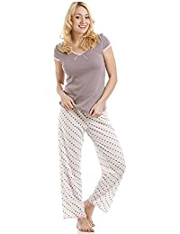 Ensemble de pyjama léger - coton mélangé - motif pois - rose/taupe