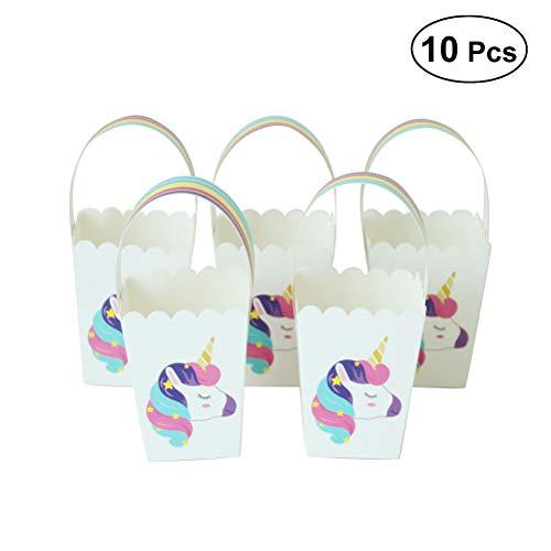 YeahiBaby Einhorn Papier Staubbeutel mit Regenbogen Griff Candy Popcorn Halloween Party Favor 12PCS